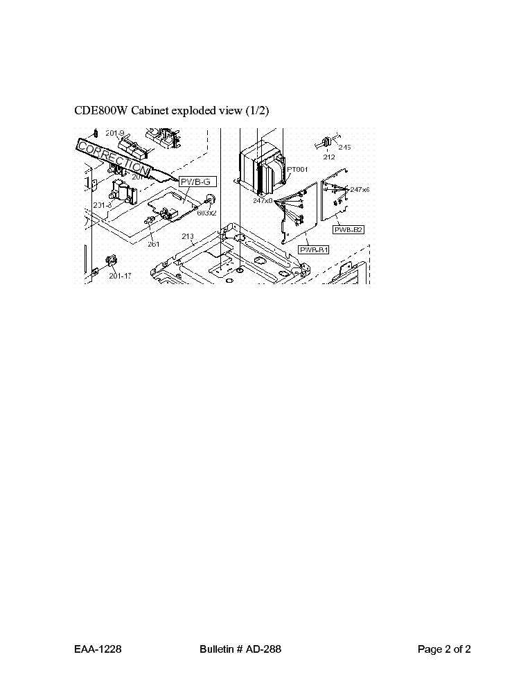 SHARP AD-288 CDE800[W] TECH BULLETIN Service Manual